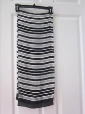 ECHO Black White & Gray Striped Long Rectangle Scarf