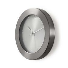 35cm Wanduhr Küchenuhr Design modern Küche Quarzuhr Uhr Edelstahl Metall silber