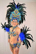 BRAZILIAN BLUE/GOLD SHOW GIRL  carnival SAMBA CABARET COSTUME bikini/CUSTOM MADE