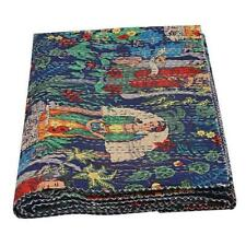 Indian Kantha Quilt Cotton Bed cover Quilted Blanket Handmade Quilts Bedspread