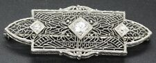 Vintage 14K White Gold and .50 ct. Diamond Filgree brooch