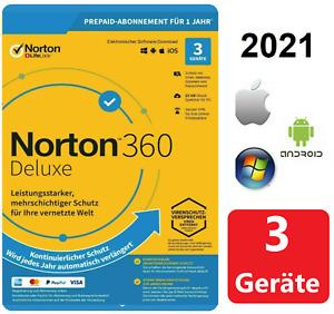 Internet Security NORTON 360 DELUXE 2021 ANTIVIRUS + VPN - 3 Geräte - DE Lizenz