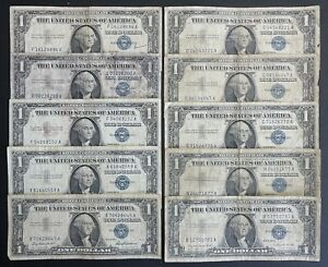 1957 Silver Certificate 1$ Blue Seal Dollar Bill Note - Lot Of 10 (C907)
