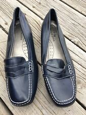 Unbranded Navy Blue Faux Leather Loafers Shoes Flats Size 11 Women's