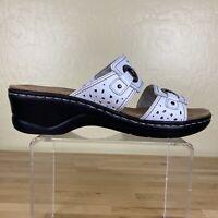Clarks Lexi Laurel Sandals Slip On Open Toe Womens Size 11 M White Leather