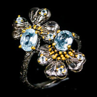 Handmade SET Natural Blue Topaz 925 Sterling Silver Ring Size 9/R122149