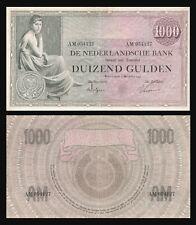 NETHERLANDS 1000 Gulden note 1926   P48   DUTCH WOMAN / LARGE  RARE !!!