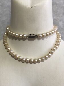 Faux Pearl Necklace 1950s Vintage Clip Clasp Beaded Jewellery Jewelry Retro Old