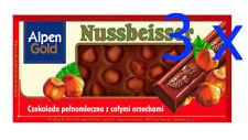 Alpen Gold NUSSBEISSER Whole Nuts Milk Chocolate Bar 3 x100g Shipping Worldwide