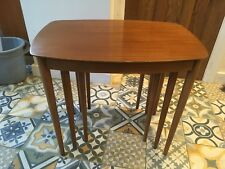 Vintage Retro Everest Nest of 3 Brown Teak Tables Side Coffee table