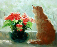ZOPT1225 fine 100% handmade painted cat with flowers oil painting art on canvas