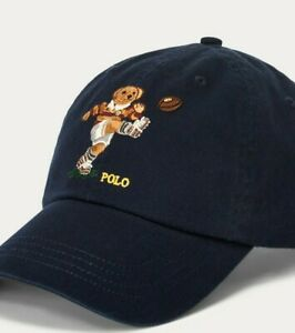 NWT POLO Ralph Lauren RUGBY BEAR HAT 6-Panel Cap NAVY MULTI Strapback ADULT