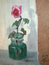 1980 impressionist oil painting still life with rose signed