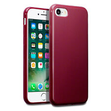 iPhone 8 Case Impact Proof Flexi Duragel Micro Bumper &  Screen Protector Red
