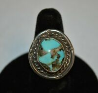 Vintage Handmade Southwestern Sterling and Turquoise Ring Size 7