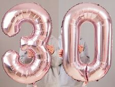 "30th Birthday Party 40"" Foil Balloon HeliumAir Decoration Age 30 Rose Gold lite"