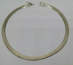 "16"" Gold Accented Vermeil Sterling Silver Braided Link 7.3 mm Necklace FREE SHIP"