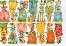 1 Bogen Scraps Oblaten Glanzbilder  Blumen Mädchen ef 7412 Nr.260