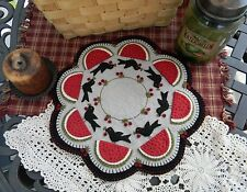 PATTERN Crow's Picnic*Penny Rug/Candle Mat ~*Crows Watermelon Cherries PATTERN*~