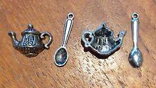 2x Tea Pot And 2x Spoon Rockabily Silver Coloured Craft Charms