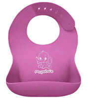 Mcpolo's- 100% Silicone Pink Elephant Design Baby Bib With Crumb Catcher