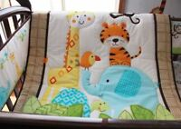 9PCS Nursery Home Crib Bedding Set Boys Baby--Elephant Monkey Tiger Animal 012