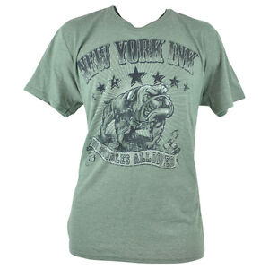 New York Ink Tattoos Bulldogs Tv Show Distressed NY Olive Shirt Tee Adult