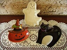 Longaberger Halloween Party Treat Serving Dishes Set Of 3 Nib Pottery Free Ship