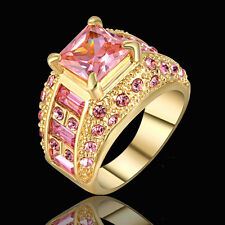 Jewelry Ring Size 7 Pink Topaz Crystal Band Women's/Mens Gold Platinum Plated