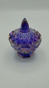 Boyd Crystal Art Glass Purple Container With Lid 3.5 x 3 inches