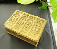 Antique 19th C NEBAUER VIENNA WIEN Gilt Bronze Casket Box Trinket Figures