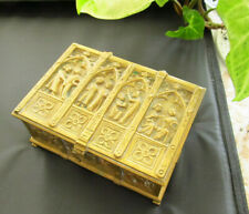 Antique 19th C NEBAUER VIENNA WIEN Gilt Bronze Casket Box Trinket Figures