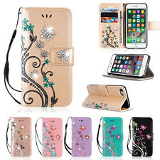 Bling Glitter Flip Leather Wallet Card Magnetic Case Cover For Various Phones