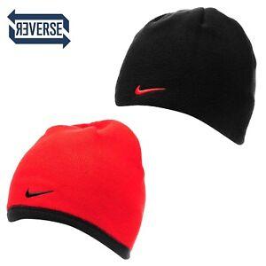 Nike Swoosh Reversible Beanie Junior Kids 6-14 Yrs Fleece Knitted Red Black A561