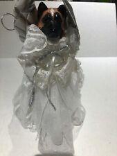 Akita Dog Angel White Silver Christmas Tree Topper 12 inch