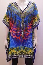 Talla Grande De Moda Bohemio Joya Estilo Estampado Leopardo Corto Caftán Azul 28