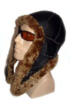 Brown Warm Sheepskin Shearling Leather Russian Ushanka Trapper Trooper Hat L-XL