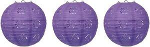 "Beistle 3 Piece 8"" Lace Paper Lanterns, Purple"