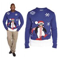 Duke D555 Mens Big Tall King Size 3D Penguin Jumper Christmas Knitted Sweater