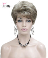 Lady Women Short Wave Syntheic Hair Wig Blonde with Highlights Full wigs
