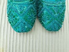 GREEN  LADIES INDIAN LEATHER BACKLESS/SLIPPER/WEDDING MULES SIZE 3