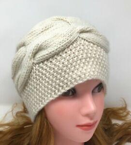 Women Hat Soft Beanie Hand Knit 100 % Cashmere Ivory color  Warm Beret