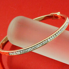 FS614 GENUINE REAL18K ROSE G/F GOLD SOLID DIAMOND SIMULATED CUFF BANGLE BRACELET