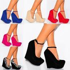 LADIES BLUE PINK RED NUDE ZEBRA ANKLE STRAP WEDGE PLATFORM HIGH HEEL COURT SHOES