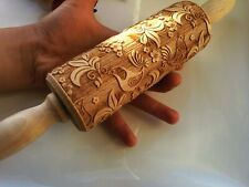Birds Engraved Wooden Rolling Paisley Embossed Dough Roller Carved Rolling Pin