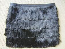 WOMENS H&M BY NIGHT COLLECTION BLACK FRINGE RUFFLE SEXY SKIRT SIZE 6 US/ 36 EUR