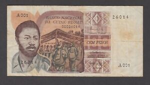 Guinea Bissau P.2-6014, 100 Pesos 24.9.1975 Series A001, F+, We Combine