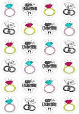 24 Engagement Ring Cupcake Fairy Cake Toppers Edible Rice Wafer Paper Decoration
