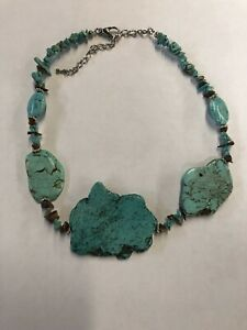 Turquoise Tiger Eye Chip Necklace #785
