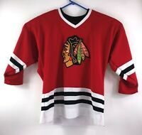 Vintage Youth Size Large/XL Red Chicago Black Hawks Embroidered NHL Jersey